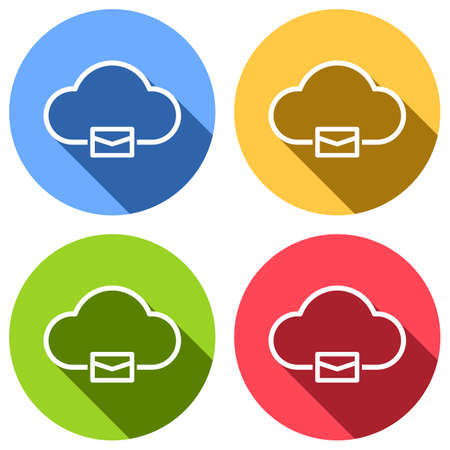 cloud mail, simple linear icon with thin outline. Set of white icons with long shadow on blue, orange, green and red colored circles. Sticker style