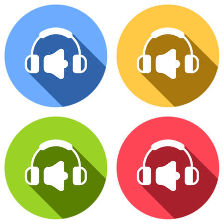 Headphones and volume level. Max volume level. Simple icon. Set of white icons with long shadow on blue, orange, green and red colored circles. Sticker style