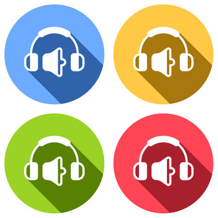 Headphones and volume level. Medium volume level. Simple icon. Set of white icons with long shadow on blue, orange, green and red colored circles. Sticker style