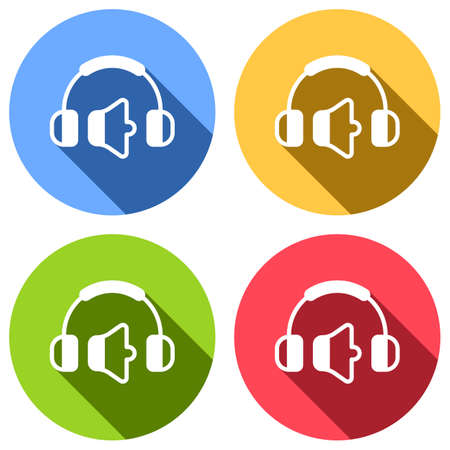Headphones and volume level. Min volume level. Simple icon. Set of white icons with long shadow on blue, orange, green and red colored circles. Sticker style