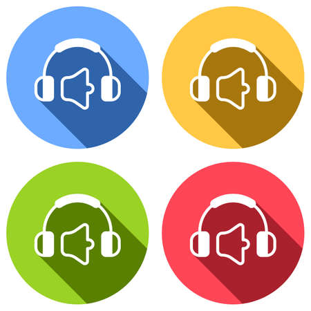 Headphones and volume level. Mute volume level. Simple icon. Set of white icons with long shadow on blue, orange, green and red colored circles. Sticker style