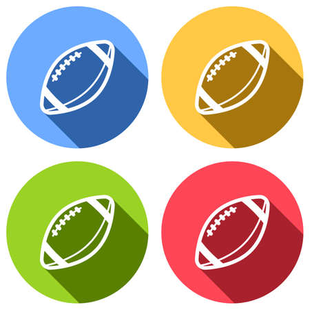 American Football logo. Simple rugby ball icon. Set of white icons with long shadow on blue, orange, green and red colored circles. Sticker style Banque d'images - 127071918