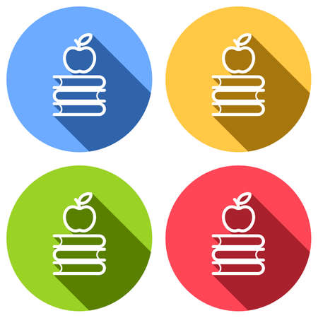 Apple on books icon. Knowledge logo. Set of white icons with long shadow on blue, orange, green and red colored circles. Sticker style