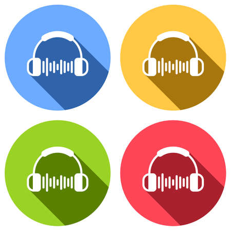 Headphones and music wave. Max volume level. Simple icon. Set of white icons with long shadow on blue, orange, green and red colored circles. Sticker style