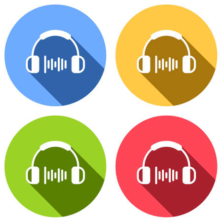 Headphones and music wave. Medium volume level. Simple icon. Set of white icons with long shadow on blue, orange, green and red colored circles. Sticker style