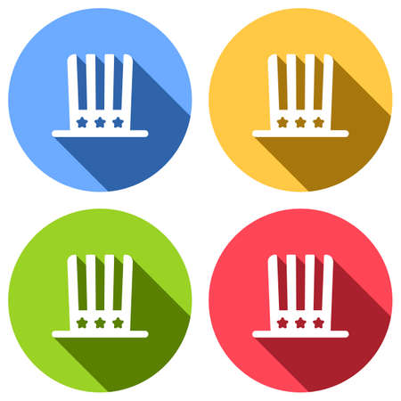 4 july, independence day. hat icon. Set of white icons with long shadow on blue, orange, green and red colored circles. Sticker style Ilustrace