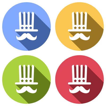 4 july, independence day. hat and mustache icon. Set of white icons with long shadow on blue, orange, green and red colored circles. Sticker style