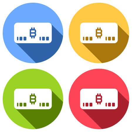 Electronic money icon. Bitcoin card. Set of white icons with long shadow on blue, orange, green and red colored circles. Sticker style Illustration