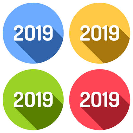 2019 number icon. Happy New Year. Set of white icons with long shadow on blue, orange, green and red colored circles. Sticker style