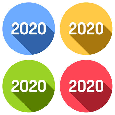2020 number icon. Happy New Year. Set of white icons with long shadow on blue, orange, green and red colored circles. Sticker style Illustration