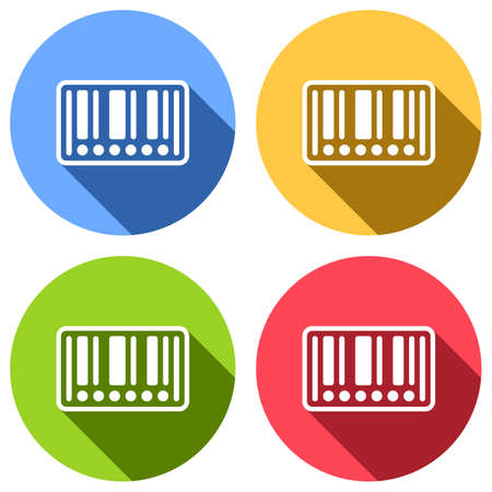 Barcode label icon. Circles instead of numbers. Set of white icons with long shadow on blue, orange, green and red colored circles. Sticker style Illustration