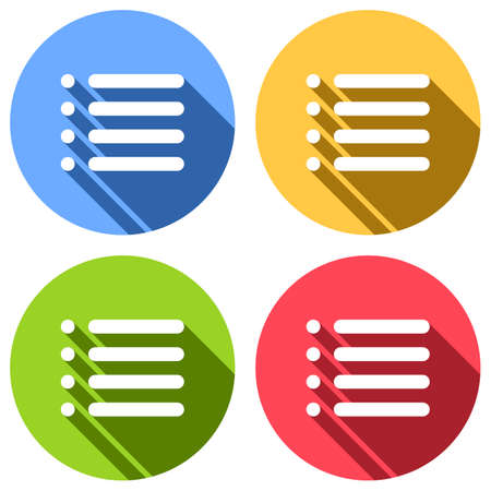 Simple list menu icon. Set of white icons with long shadow on blue, orange, green and red colored circles. Sticker style Illustration
