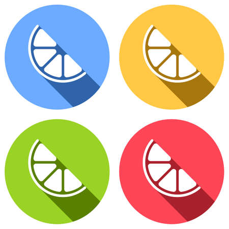 Half lemon or orange. Simple icon. Set of white icons with long shadow on blue, orange, green and red colored circles. Sticker style
