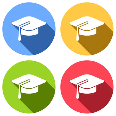 Graduation cap. Education icon. Set of white icons with long shadow on blue, orange, green and red colored circles. Sticker style