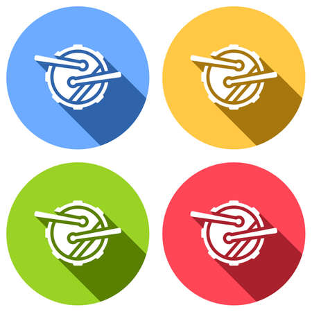 Drum icon. Simple music instrument with drumsticks. Set of white icons with long shadow on blue, orange, green and red colored circles. Sticker style