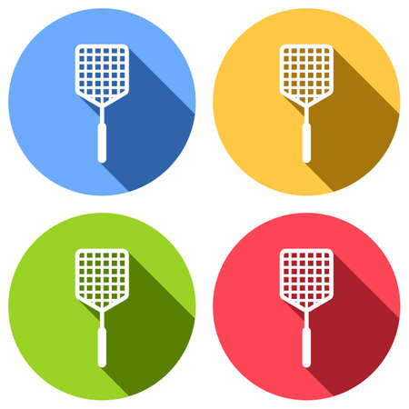 Fly swatter icon. Set of white icons with long shadow on blue, orange, green and red colored circles. Sticker style Illustration