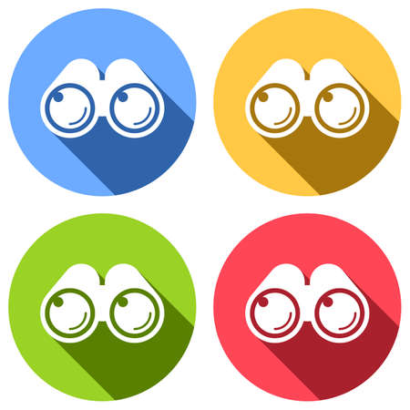 Simple binocular icon. Set of white icons with long shadow on blue, orange, green and red colored circles. Sticker style