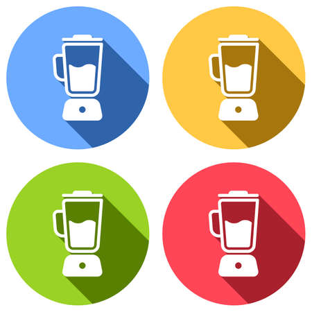 Simple blender icon. Electronic kitchen mixer. Set of white icons with long shadow on blue, orange, green and red colored circles. Sticker style Illustration