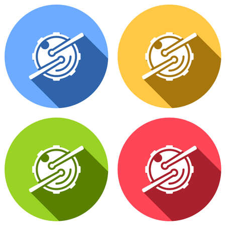 Logo for music app. Drum with drumsticks and camera. Simple icon. Set of white icons with long shadow on blue, orange, green and red colored circles. Sticker style