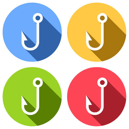 Fishing hook. Simple icon. Set of white icons with long shadow on blue, orange, green and red colored circles. Sticker style