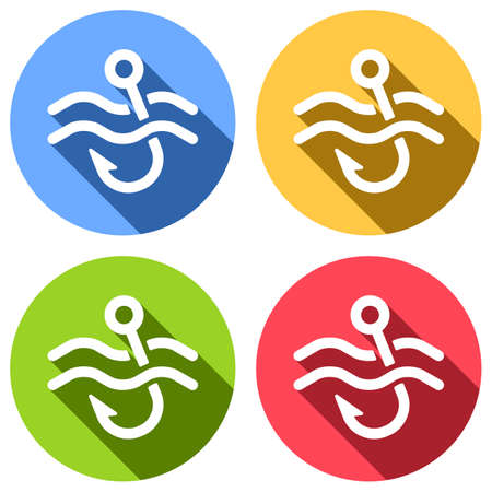 Fishing hook and water. Simple icon. Set of white icons with long shadow on blue, orange, green and red colored circles. Sticker style Banque d'images - 127071938
