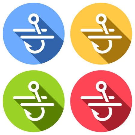 Fishing hook and water. Simple icon. Set of white icons with long shadow on blue, orange, green and red colored circles. Sticker style Illustration