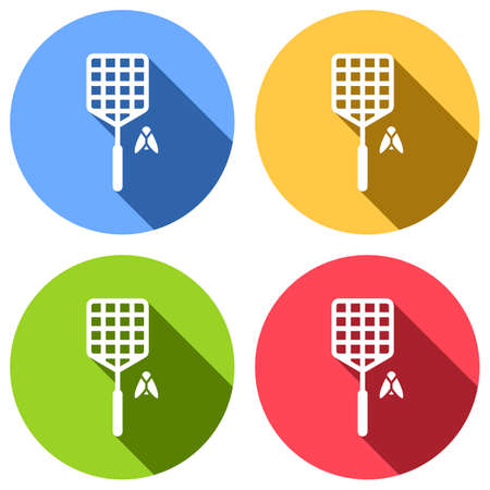 Fly swatter and insect. Simple icon. Set of white icons with long shadow on blue, orange, green and red colored circles. Sticker style