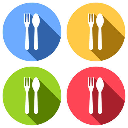 Fork and spoon, icon. Kitchen tools. Set of white icons with long shadow on blue, orange, green and red colored circles. Sticker style