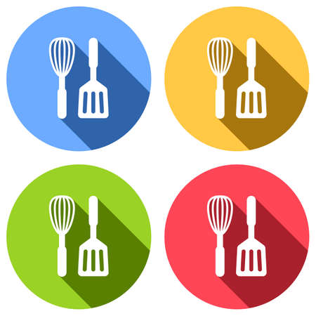 Kitchen tool icon. Whisk and spatula. Set of white icons with long shadow on blue, orange, green and red colored circles. Sticker style