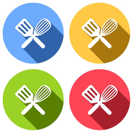 Kitchen tool icon. Whisk and spatula, criss and cross. Set of white icons with long shadow on blue, orange, green and red colored circles. Sticker style