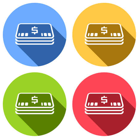 Pack of dollar money or vouchers. Business icon. Set of white icons with long shadow on blue, orange, green and red colored circles. Sticker style Vectores