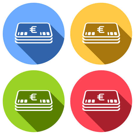 Pack of euro money or vouchers. Business icon. Set of white icons with long shadow on blue, orange, green and red colored circles. Sticker style