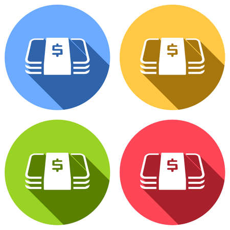 Pack of dollar money or vouchers. Business icon. Set of white icons with long shadow on blue, orange, green and red colored circles. Sticker style Banque d'images - 127071945