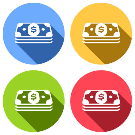Pack of dollar money or vouchers. Business icon. Set of white icons with long shadow on blue, orange, green and red colored circles. Sticker style Illustration