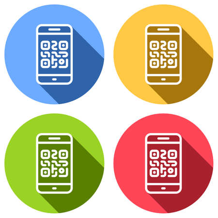 QR code. Scanning with cell phone. Technology outline icon. Set of white icons with long shadow on blue, orange, green and red colored circles. Sticker style