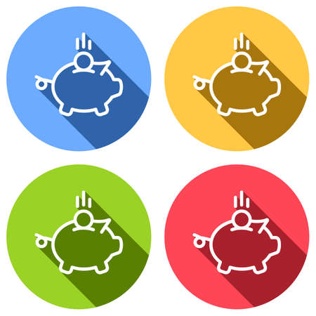 Piggy bank, dollar coin. Business icon. Set of white icons with long shadow on blue, orange, green and red colored circles. Sticker style Illustration