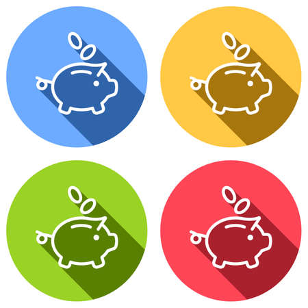 Piggy bank, dollar coins. Business icon. Set of white icons with long shadow on blue, orange, green and red colored circles. Sticker style Illustration