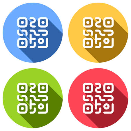 QR code. Technology icon. Simple logo. Set of white icons with long shadow on blue, orange, green and red colored circles. Sticker style