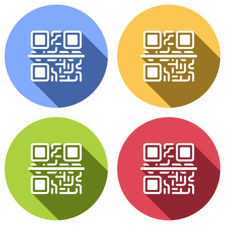 Scanning QR code. Technology icon. Set of white icons with long shadow on blue, orange, green and red colored circles. Sticker style