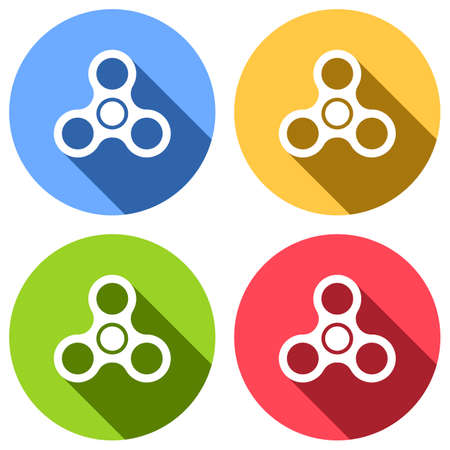 Spinner icon. Toy for stress relief. Set of white icons with long shadow on blue, orange, green and red colored circles. Sticker style