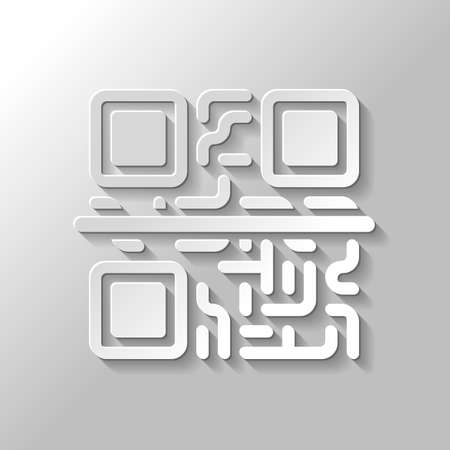 Scanning QR code. Technology icon. Paper style with shadow on gray background