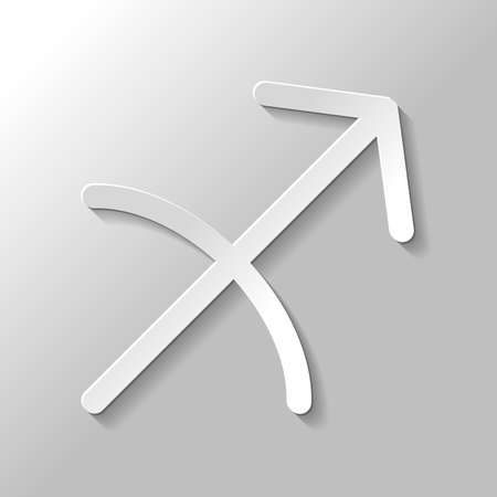 Astrological sign. Sagittarius simple icon. Paper style with shadow on gray background