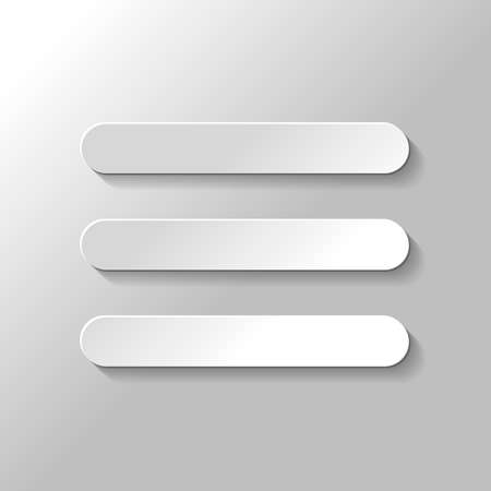 Hamburger menu. Web icon. Paper style with shadow on gray background