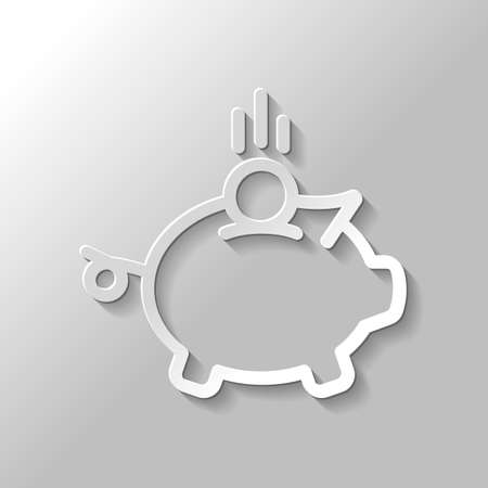 Piggy bank, dollar coin. Business icon. Paper style with shadow on gray background