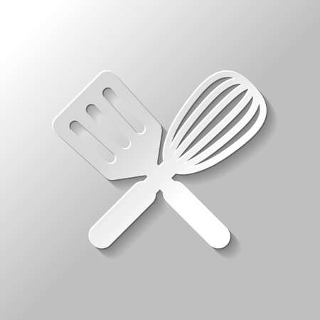 Kitchen tool icon. Whisk and spatula, criss and cross. Paper style with shadow on gray background