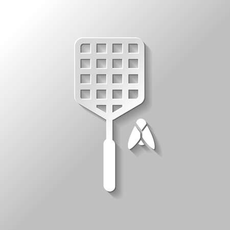Fly swatter and insect. Simple icon. Paper style with shadow on gray background Illustration