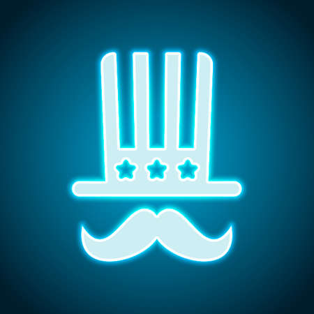 4 july, independence day. hat and mustache icon. Neon style. Light decoration icon. Bright electric symbol