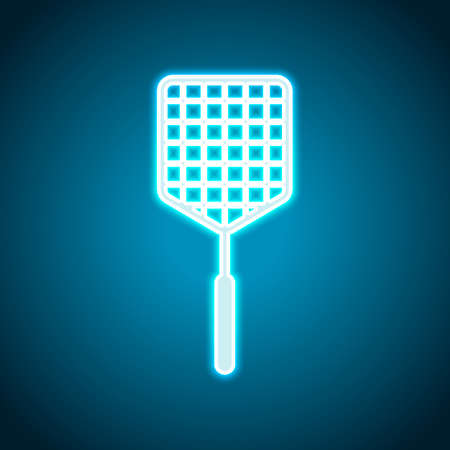 Fly swatter icon. Neon style. Light decoration icon. Bright electric symbol Illustration