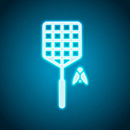 Fly swatter and insect. Simple icon. Neon style. Light decoration icon. Bright electric symbol