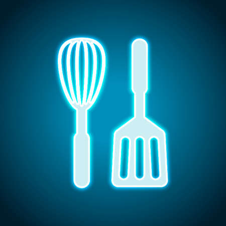 Kitchen tool icon. Whisk and spatula. Neon style. Light decoration icon. Bright electric symbol Иллюстрация